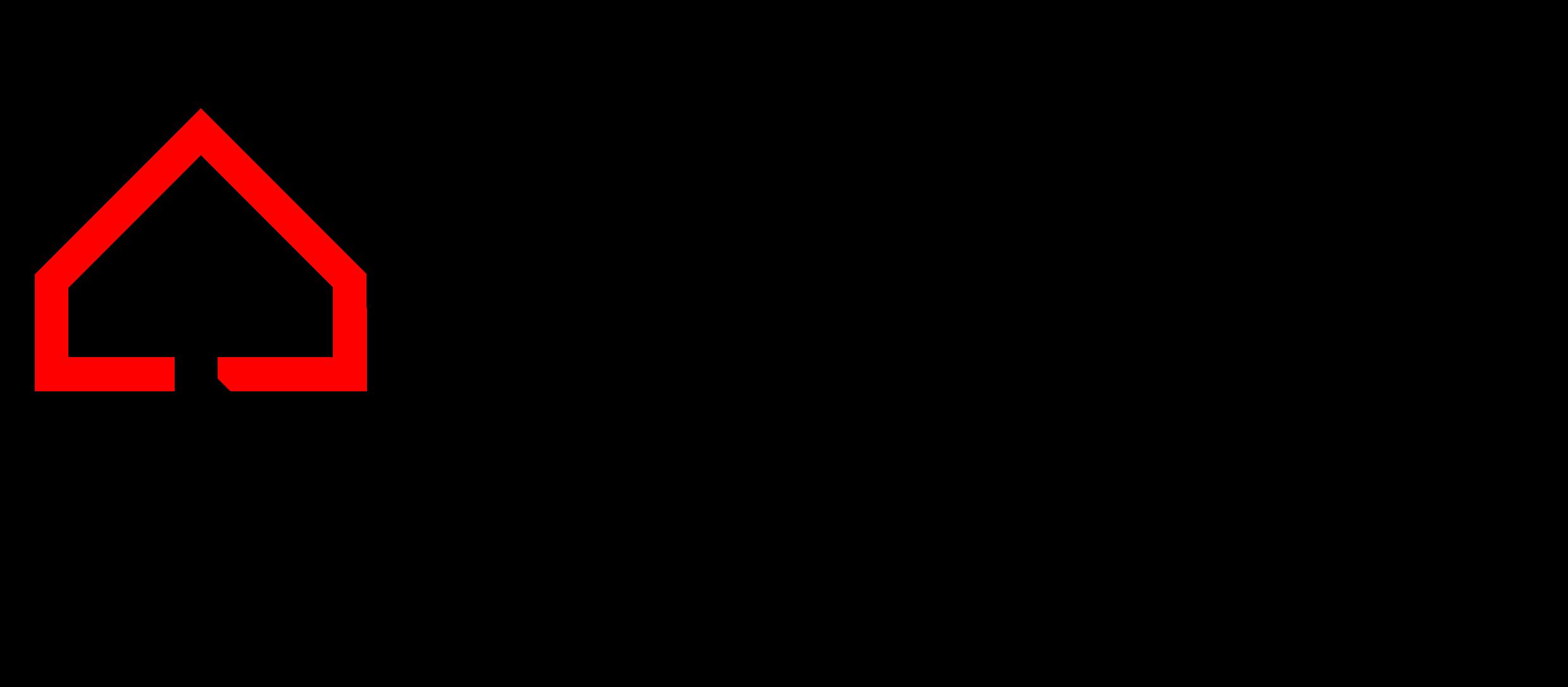Logo Muzeum Polaków Ratujących Żydów. Po lewej stronie schematycznie wyrysowane domy czerwony i czarny, splecione jak ogniwa łańcucha. Czarny element jest obrócony do góry nogami. Po prawej stronie pełna nazwa muzeum rozbita na pięć wersów tekstu.