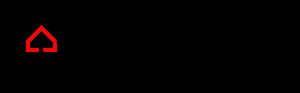 Znak z logo Muzeum Polaków Ratujących Żydów. Schematycznie wyrysowane domy czerwony i czarny, splecione jak ogniwa łańcucha. Czarny jest obrócony do góry nogami. Po prawej stronie pełna nazwa Muzeum w trzech wersach.