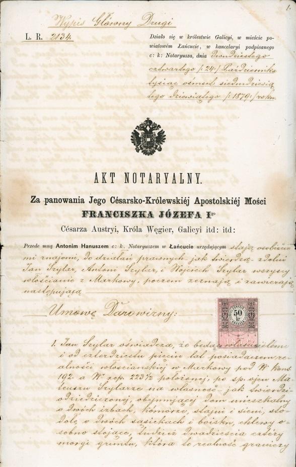 Urzędowy Akt Notarialny z XIX wieku, pisany ręcznie na pożółkłym papierze.
