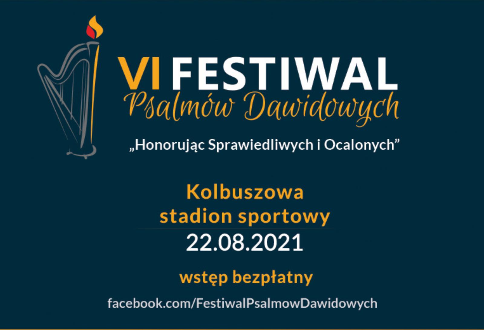 Grafika Festiwalu Psalmów Dawidowych informująca o koncercie w dniu 22 sierpnia 2021 roku w Kolbuszowej.
